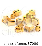 Royalty Free RF Clipart Illustration Of A Group Of Various 3d Gold Shipping Boxes One With Bright Light