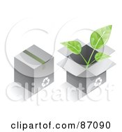 Royalty Free RF Clipart Illustration Of Two Recycled Cardboard Boxes With A Plant