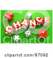 Royalty Free RF Clipart Illustration Of 3d Dice Around Red Chance Blocks On Green by Tonis Pan