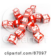 Royalty Free RF Clipart Illustration Of A Cluster Of Red Risk Cubes