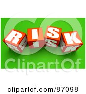 Royalty Free RF Clipart Illustration Of 3d Red Risk Cubes On Green