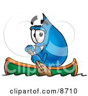 Water Drop Mascot Cartoon Character Rowing A Boat