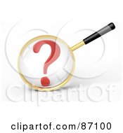 Royalty Free RF Clipart Illustration Of A 3d Golden Magnifying Glass Viewing A Large Red Question Mark by Tonis Pan