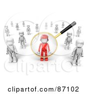Royalty Free RF Clipart Illustration Of A 3d Golden Magnifying Glass Viewing A Red Man In A Crowd Of White Ones by Tonis Pan