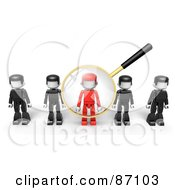 Royalty Free RF Clipart Illustration Of A 3d Golden Magnifying Glass Viewing A Red Man In A Row Of Black Ones by Tonis Pan