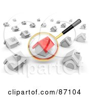 Royalty Free RF Clipart Illustration Of A 3d Golden Magnifying Glass Viewing A Red House In A Crowd Of White Ones
