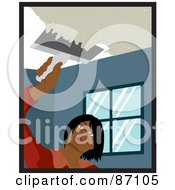 Royalty Free RF Clipart Illustration Of An Indian Woman Using A Scraper Tool To Remove Popcorn Ceiling In Her House