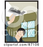 Royalty Free RF Clipart Illustration Of A Caucasian Woman Using A Scraper Tool To Remove Popcorn Ceiling In Her House by Rosie Piter