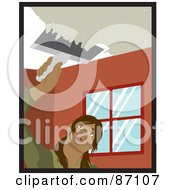 Royalty Free RF Clipart Illustration Of A Hispanic Woman Using A Scraper Tool To Remove Popcorn Ceiling In Her House