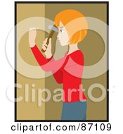 Red Haired Caucasian Woman Hammering A Nail Into Her Tan Wall While Decorating