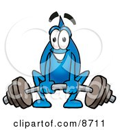 Clipart Picture Of A Water Drop Mascot Cartoon Character Lifting A Heavy Barbell by Toons4Biz