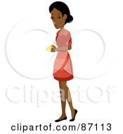 Royalty Free RF Clipart Illustration Of A Pretty Indian Waitress Writing Down An Order by Rosie Piter