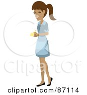 Royalty Free RF Clipart Illustration Of A Pretty Hispanic Waitress Writing Down An Order by Rosie Piter