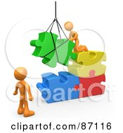 Royalty Free RF Clipart Illustration Of 3d Rendered Orange Men Directing A Hoisted Puzzle Piece Into A Space