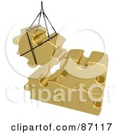 3d Rendered Gold Puzzle Piece Hoisted And Preparing To Connect To Other Pieces