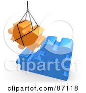 Royalty Free RF Clipart Illustration Of A 3d Rendered Orange Puzzle Piece Hoisted And Preparing To Connect To Blue Pieces by 3poD