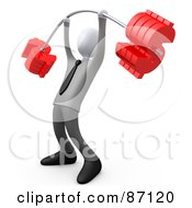 Royalty Free RF Clipart Illustration Of A 3d Rendered White Businsessman Lifting A Heavy Barbell With Dollar Symbol Weights