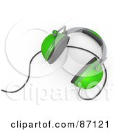 Royalty Free RF Clipart Illustration Of A 3d Rendered Pair Of Green Headphones