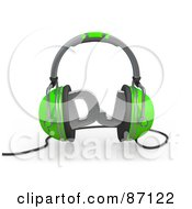 Royalty Free RF Clipart Illustration Of A 3d Rendered Pair Of Green Headphones Squeezing Silver DJ