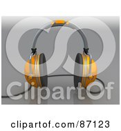 Royalty Free RF Clipart Illustration Of A 3d Rendered Pair Of Orange Headphones by 3poD