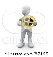 Royalty Free RF Clipart Illustration Of A 3d Rendered White Person Holding A Film Reel