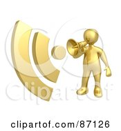 Royalty Free RF Clipart Illustration Of A 3d Rendered Gold Announcer With A Megaphone by 3poD