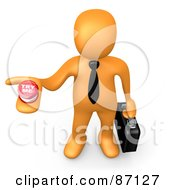Royalty Free RF Clipart Illustration Of A 3d Rendered Job Hunting Orange Businessman Holding Out A Try Me Button by 3poD