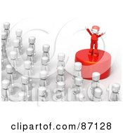 Royalty Free RF Clipart Illustration Of A Red Leader On A Podium Speaking To A Crowd