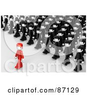Royalty Free RF Clipart Illustration Of A Crowd Of 3d People In Uniforms Following A Leader