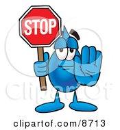Water Drop Mascot Cartoon Character Holding A Stop Sign