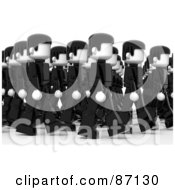 Group Of Walking Black And White 3d People In Rows