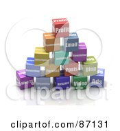 Royalty Free RF Clipart Illustration Of A Pyramid Of Stacked 3d Colorful Web Business Cubes by Tonis Pan