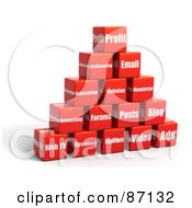 Pyramid Of Stacked 3d Red Social Media Cubes
