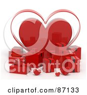 Royalty Free RF Clipart Illustration Of 3d Red Shipping Boxes With A Giant Heart