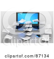 Royalty Free RF Clipart Illustration Of 3d Floating Papers Over A Laptop by Tonis Pan