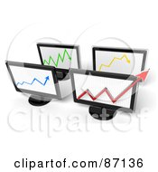 Royalty Free RF Clipart Illustration Of A Group Of 3d Screens With Arrow Graphs by Tonis Pan