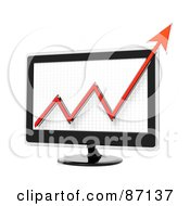 Royalty Free RF Clipart Illustration Of A Red Arrow Graph On A 3d Screen by Tonis Pan