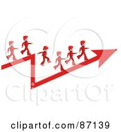 Royalty Free RF Clipart Illustration Of 3d Red People Walking On An Arrow by Tonis Pan