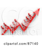 Royalty Free RF Clipart Illustration Of 3d Red People Walking On An Arrow Over A Grid