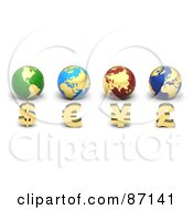 Royalty Free RF Clipart Illustration Of 3d Golden Currency Symbols In Front Of Globes by Tonis Pan