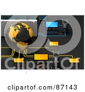 Royalty Free RF Clipart Illustration Of A 3d Globe With A Brick Wall And Computers In A Network by Tonis Pan