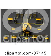 Royalty Free RF Clipart Illustration Of A 3d Globe And In A Computer Network by Tonis Pan