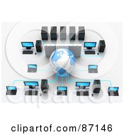 Royalty Free RF Clipart Illustration Of A 3d Globe And Wall In A Computer Network by Tonis Pan