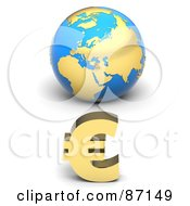 Royalty Free RF Clipart Illustration Of A 3d Golden Euro Symbol In Front Of A Blue European Globe by Tonis Pan
