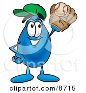 Water Drop Mascot Cartoon Character Catching A Baseball With A Glove