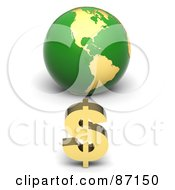 3d Golden Dollar Symbol In Front Of A Green American Globe