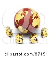 Royalty Free RF Clipart Illustration Of 3d Golden Yen Dollar Euro And Pound Currency Symbols In Front Of A Red And Gold Globe