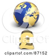 Royalty Free RF Clipart Illustration Of A 3d Golden Pound Symbol In Front Of A Blue Globe