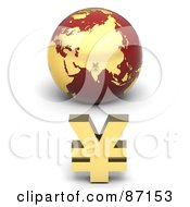 Royalty Free RF Clipart Illustration Of A 3d Golden Yen Symbol In Front Of A Red Globe by Tonis Pan
