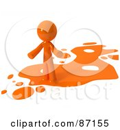 3d Orange Man Standing On An Orange Liquid Spill